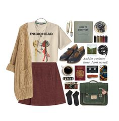 """""""band tshirt // Radiohead"""" by rosemarykate ❤ liked on Polyvore featuring Lacey Ryan, Retrò, A.P.C., Chicnova Fashion, POLICE, Topshop, Leica, Dr. Martens, Polaroid and Urbanears"""