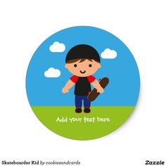 Sheet of 20 customisable skateboarder kid stickers (brown hair version). Designed by Cookies and Cards.