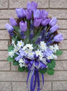 Best 12 pixels – Page 416794140496922278 – SkillOfKing. Diy Spring Wreath, Spring Door Wreaths, Easter Wreaths, Spring Crafts, Holiday Wreaths, Purple Wreath, Tulip Wreath, Floral Wreath, Cemetery Flowers