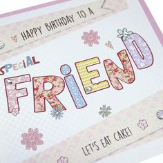 Handmade Birthday Card Embossed Dotty Gold Shimmer Friend Sparkling Crystals - 'Let's Eat Cake!'