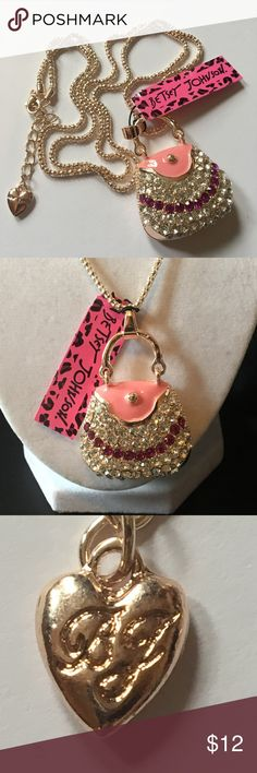 "Betsey Johnson Purse Pendant Necklace Silver plated 30"" chain. Purse pendant is silver plated with white and pink crystals. Pendant itself is hollow. Official Betsey Johnson NWT. Betsey Johnson Jewelry Necklaces"