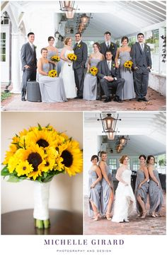 Wedding Party Portrait :: Grey Suits and Gray Bridesmaid Dresses :: Sunflowers :: Fall Wedding on a Rainy Day :: Charming New England Inn Wedding at The Lord Jeffery Inn in Amherst, Massachusetts :: Michelle Girard Photography and Design
