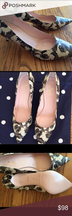 Kate Spade Floral Pumps NWOT Black/gray/off-white floral Kate Spade Melanie pumps with a 2 inch heel. Perfect condition. Size 10 kate spade Shoes Heels