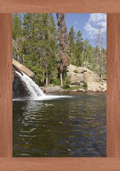 """Luminous Virtual Window 39""""x64"""" with Ructic Cherry trim. Natural Waterslide - Sinks Canyon, Popo Agie Falls, Lander, Wyoming"""