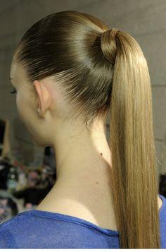 Sleek high fashion ponytail