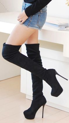 I want these boots.just not with that heel lol hello broken ankles Thigh High Boots, High Heel Boots, Heeled Boots, Bootie Boots, Cute Shoes, Me Too Shoes, Over Boots, Shoes Heels, Pumps