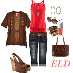Sunkissed - Personally I'd go with a cropped brown cardi - but I love everything else! :)