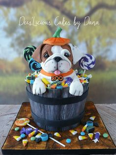 Boo the bulldog pup Halloween cake. Hand painted fondant barrel and fondant candy. By Dees'Licious Cakes by Dana Bird Cakes, Dog Cakes, Fancy Cakes, Cute Cakes, Bulldog Cake, Myconos, Fantasy Cake, Puppy Cake, Sculpted Cakes