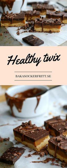 Healthy twix (gluten free, no sugar added) - Hälsosamma twix (glutenfritt, utan tillsatt socker) //Baka Sockerfritt