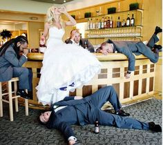 The bride and the groomsmen, hahaha