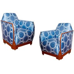 Pair Of French Art Deco Armchairs~I don't have a blue scheme in my home but if I did, these chairs would be awesome.
