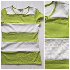 """Downeast Boutique lime green & white striped top Item: Downeast boutique like green and white wife stripe top. White part is textured. So cute  Size: M Measurements: bust 18""""across length 26"""" Downeast  Tops Tees - Short Sleeve"""