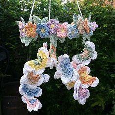 Crochet Butterfly & Flower Mobile made in Planet Penny Cotton Pastels _PDF pattern & yarn - Planet Penny