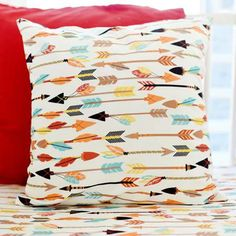 Our feather & arrow throw pillow coordinates with our Lucky Arrow Crib Collection. Throw pillows are perfect for your nursery glider or bay window and can tie in all of the colors in the nursery. Pill