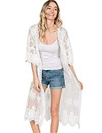 Anna-Kaci Womens Long Embroidered Lace Kimono Cardigan with Half Sleeves, Ivory, Small/Medium Lace Cardigan Outfit, Long Kimono Cardigan, Lace Kimono, Crochet Cardigan, Kimono Style, Floral Cardigan, Oversized Cardigan, Brunch Outfit, Crochet Shawls And Wraps