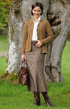House of Bruar Ladies Panelled Worsted Plaid Skirt