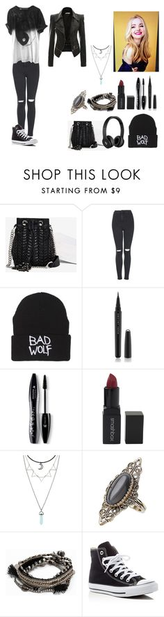 """""""Fanfic- the best frind - 1"""" by aninha-gpassis ❤ liked on Polyvore featuring Sam Edelman, Topshop, Beats by Dr. Dre, Marc Jacobs, Lancôme, Smashbox, Pieces and Converse"""
