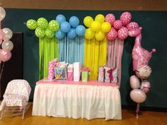Baby shower balloon and streamer back drop :)