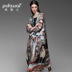 POKWAI High Quality Brand Chinese Slik Print Poloshirts Women Tops 2017 Spring Chiffon Casual Long Shirt Design Ladies Blouses  #Affiliate