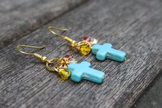 Turquoise cross, gold plated hook earrings £6.50