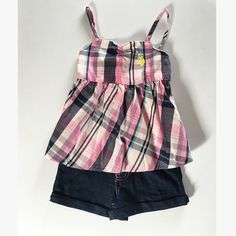 Girls- Denim & Plaid Shorts Set ADORABLE Love the back detail & Jean shorts with pink stitching to match 100% cotton top US Polo Assn. New w/tags Other
