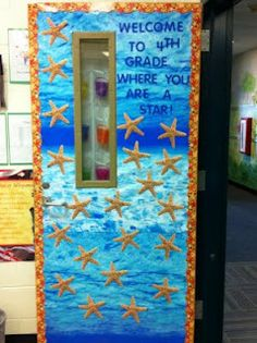 Starfish Classroom Door Idea from For the Love of Teaching: Classroom Tour 4th Grade Classroom, Classroom Door, Classroom Themes, Ocean Themed Classroom, Infant Classroom, Ocean Themes, Beach Themes, School Door Decorations, Underwater Theme