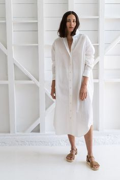 Reliquary House Line   THE SHIRT DRESS IN WHITE ORGANIC COTTON – RELIQUARY The White Album, Oversized Shirt Dress, Simple Wardrobe, Wardrobe Staples, One Size Fits All, Bathing Suits, Organic Cotton, Dress Up, White Dress