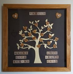 Family Tree Frame Solid Wood Family Tree by Forgetmeknotcrafty