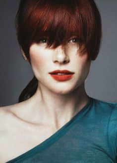Bryce Dallas Howard, love the strong bangs and the color