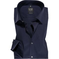 Olymp - Olymp Deep Blue Poplin Shirt - Level Five Body Fit