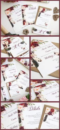 Customer Favorite! BohoWedding Invitations in burgundy and blush pink.