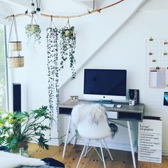Scandinavian home office, styled with plants and the ABBETVED Desk #homeoffice #scandinavieninterior #jysk