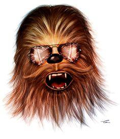 Chewbacca as a Rockstar in Rayban Sunglasses. Star Wars Art Illustration.