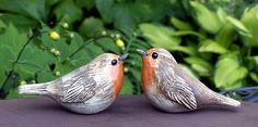 """Keramik - Gartenkeramik Steckvogel """"ROTKEHLCHEN"""" - ein Designerstück von Brigitte_Peglow bei DaWanda"""