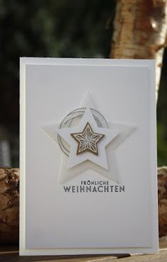 Daniela's stamp world: Last information about the Christmas magic - Weihnachten Chrismas Cards, Christmas Cards 2017, Simple Christmas Cards, Stampin Up Christmas, Christmas Information, Star Cards, Card Tags, Greeting Cards Handmade, Homemade Cards