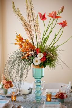 I like the uncluttered look of this wedding reception centerpiece