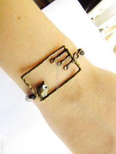 Adjustable Vintage Bird Bracelet  with Black  hemp by sevenvsxiao, $6.50