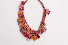 Colorful boho necklace, fiber art statement jewelry, orange pink, OOAK