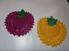 howto crochet diy pattern tutorial potholders strawberry raspberry black...