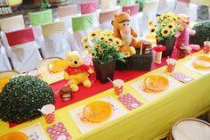 Guest Tabletop from a Winnie the Pooh Themed Birthday Party via Kara's Party Ideas! KarasPartyIdeas.com (22)