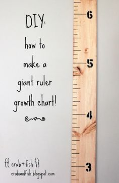 diy giant ruler growth chart i-m-crafty-and-one-day-will-make-all-of-this Diy Projects To Try, Craft Projects, Craft Ideas, Wood Projects, Diy For Kids, Crafts For Kids, Kids Fun, Growth Chart Ruler, Growth Charts