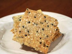 Gluten Free Almond Sesame Crackers With Ground Almonds, Sea Salt, Sesame Seeds, Eggs, Grapeseed Oil Banting Desserts, Banting Recipes, Vegetarian Recipes Easy, Cooking Recipes, Cooking Kids, Cooking 101, Bread Snacks Recipe, Dessert Recipes, Banting Bread