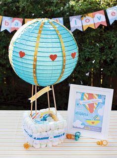 baby shower - Hot Air Balloon Diaper Cake Tutorial + Free Printables!