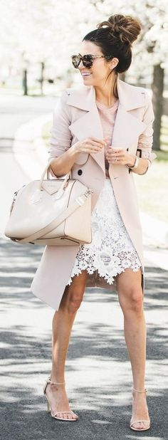 Shades of blush + white lace skirt | Hello Fashion