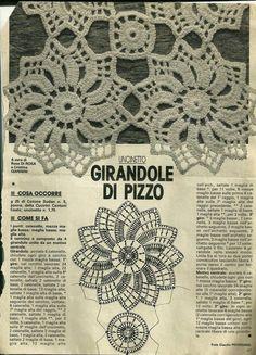 Hobby lavori femminili - ricamo - uncinetto - maglia: Copriletto - Girandole di pizzo