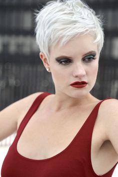 Haircut and Color by Lead Stylist: Nelson Segarra Makeup by Lead Stylist: Elizabeth Catalan #hair #haircut #haircolor #white #color #pixie #cut #pixiecut #chicago #salon #makeup #beauty #fashion #shorthair #short #womenshair #womensstyle #style #highlight #contour