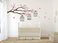 Bird Cages Branch Wall Decal Sticker Leaves by GetCreativeStudios
