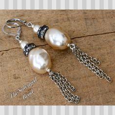 Vintage Bridal Assemblage Baroque Glass Pearl Tassel Earrings