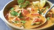 red curry chowder...no need for fish, can use tempeh.