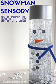 Make an easy snowman sensory bottle whether you have tons of snow or not. A fun Winter or melting snowman activity for kids that encourages hands-on play.